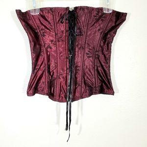 Victoria's Secret Merlot Black Leaf Full Corset Lg